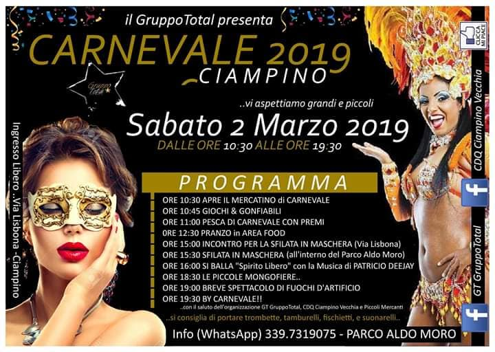 programma del carnevale di Ciampino 2019