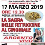 programma della Sagra delle fettuccine al cinghiale di Torrita Tiberina 2019