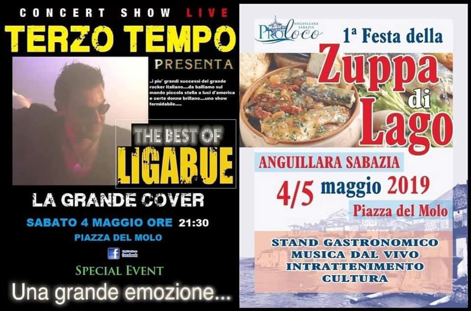 cover di Ligabue alla sagra della zuppa di lago Anguillara 2019