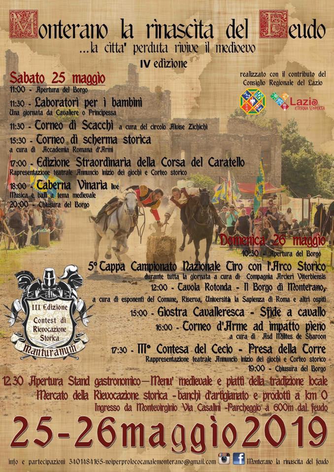 programma della festa medievale di Monterano 2019