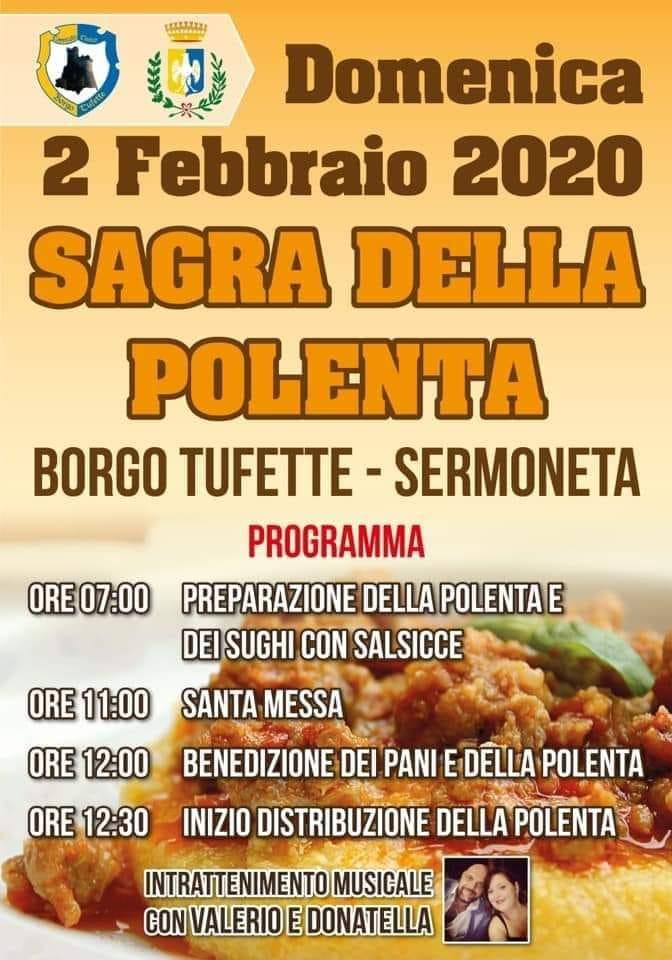 Programma della Sagra della Polenta 2020 a Borgo Tufette