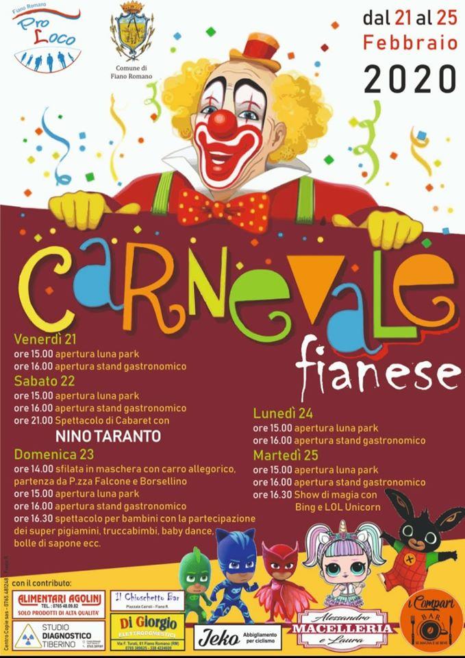 Programma del carnevale di Fiano Romano 2020