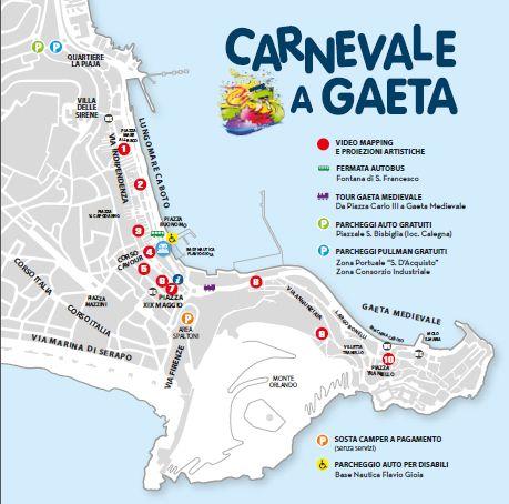 Mappa del carnevale di Gaeta 2020