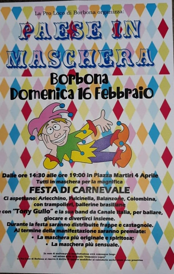 Paese in Maschera 2020, il carnevale di Borbona (RI)
