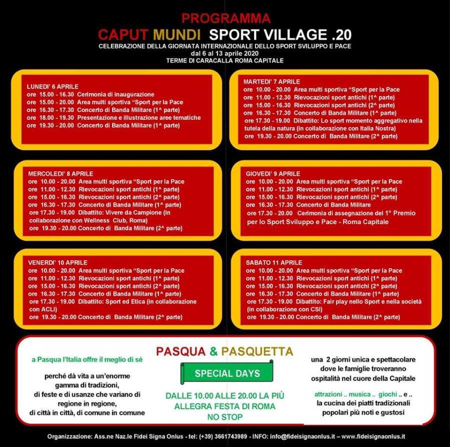 Programma del Caput Mundi Sport Village 2020
