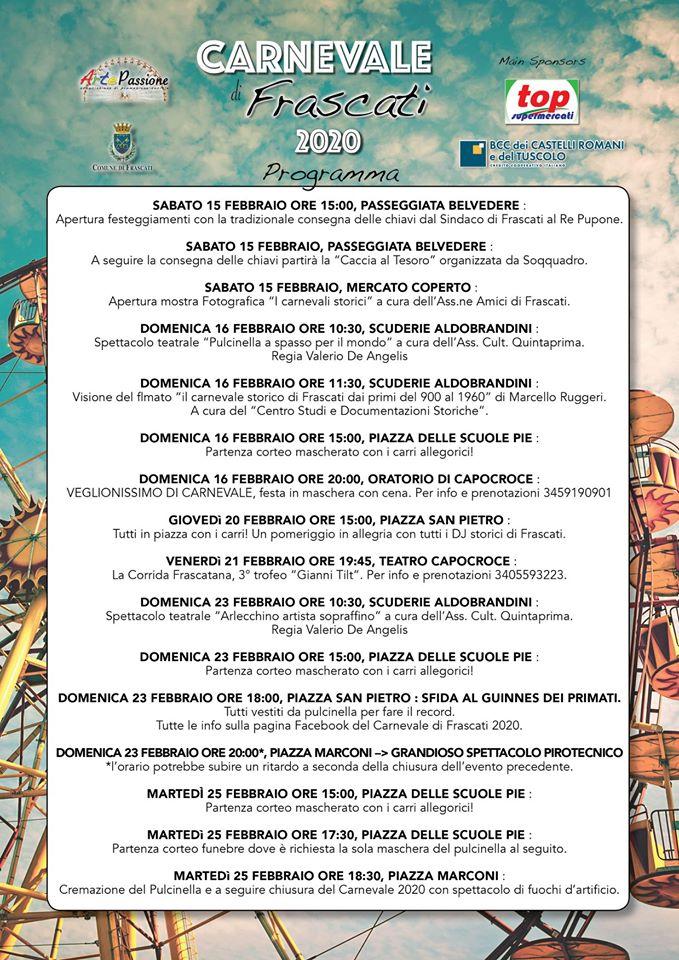 Il programma del Carnevale di Frascati 2020